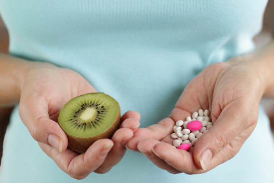 Mature woman and her choice -  pills or fruit